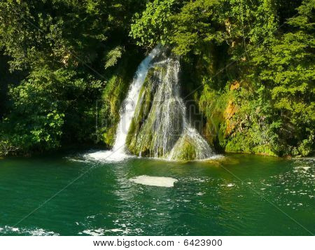 Cascading waterfalls Skradinski buk in Krka National Park. Croatia poster