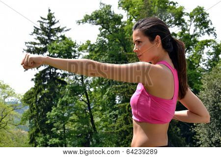 outdoor fitness latin woman training.