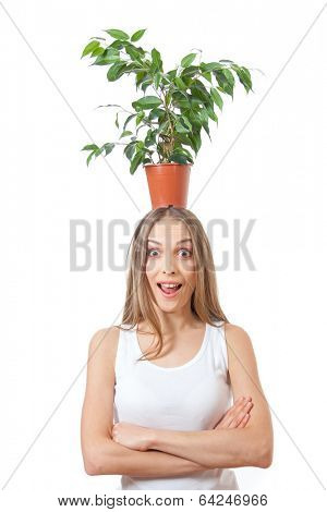 Smiling woman hold houseplant pipal, isolated on white background.
