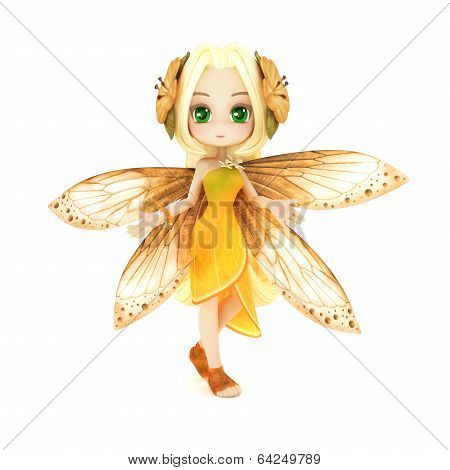 Cute toon fairy posing on a white background poster