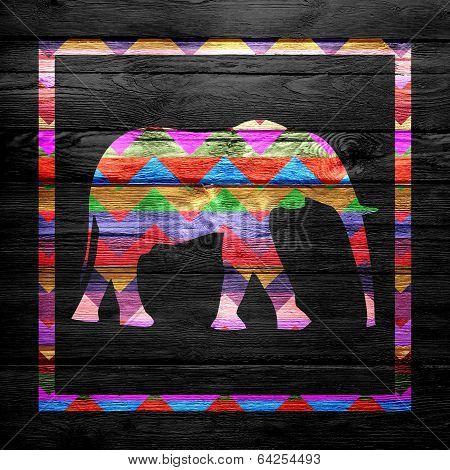 Chevron Elephant Pattern on Wood - Artwork Design poster