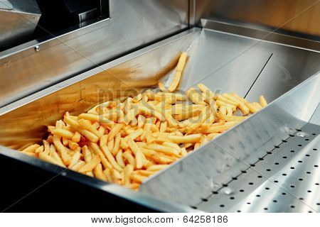Deep fryer with french fries at restaurant kitchen
