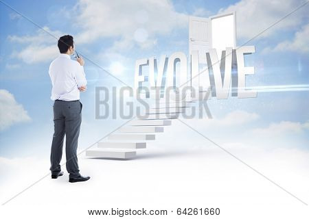 The word evolve and businessman holding glasses against steps leading to open door in the sky