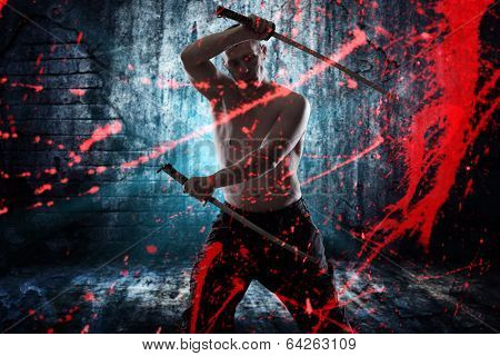 Japanese  katana sword with blood splatter