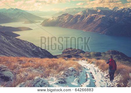Trekker on a Mount Roy