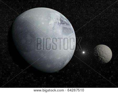 Pluton, Charon and Polaris star - 3D render
