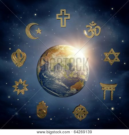 Planet Earth and religious symbols (Elements of this image furnished by NASA)) poster