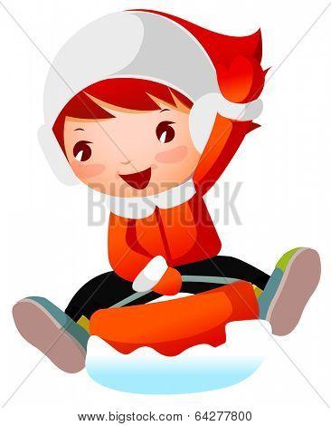 cute girl on snow