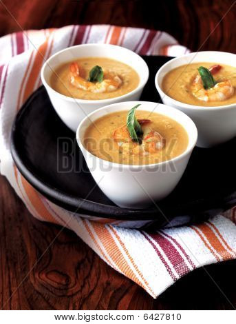 Shrimp And Basil Bisque Soup