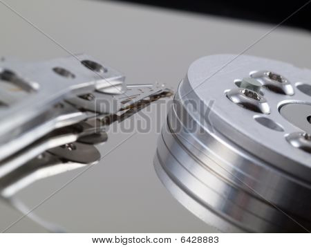 Hard Drive Platter And Head On Right Side
