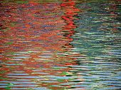 Red Blue Color pattern shimmers and reflects in ripples of water making a psychedelic pattern. poster