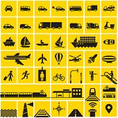 Transportation icons set - road, rail, water, air transport symbols & design elements.High contrast - Black on Yellow poster