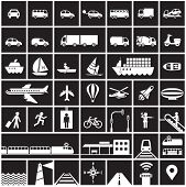 Transportation icons set - road, rail, water, air transport symbols & design elements.High contrast - White on Black poster