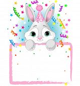 Adorable Baby Bunny Wearing A Party Hat, Looking Over A Blank Starry Sign With Colorful Confetti. Raster version.   poster