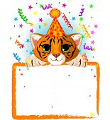 Adorable Baby Tiger Wearing A Party Hat, Looking Over A Blank Starry Sign With Colorful Confetti. Raster version.   poster
