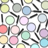 Various color of magnifying glass on white background poster