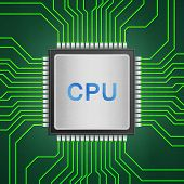 the isolated paper cut of cpu chip on green circuit is central processor technology in circuit computer on motherboard poster