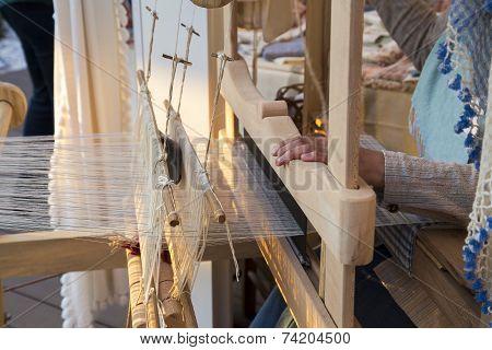 Turkish Woman Hands Weaving Traditional Carpet Closeup