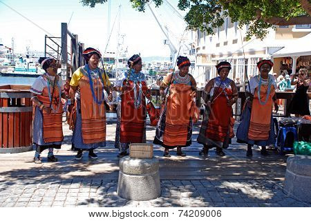 African Tribal Singers On The Waterfront In Capetown, South Africa.