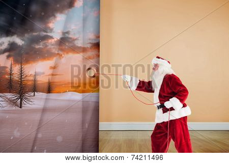 Santa pulls something with a rope against room with wooden floor poster