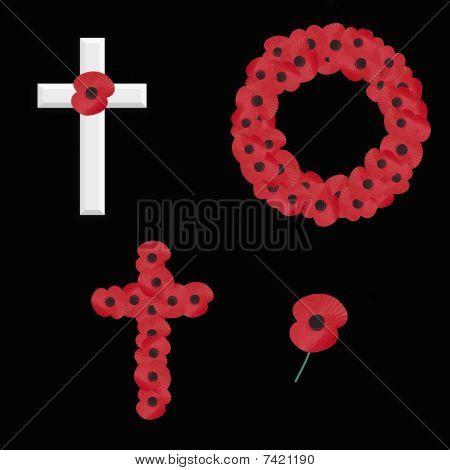 set of 4 remembrance vectors on black