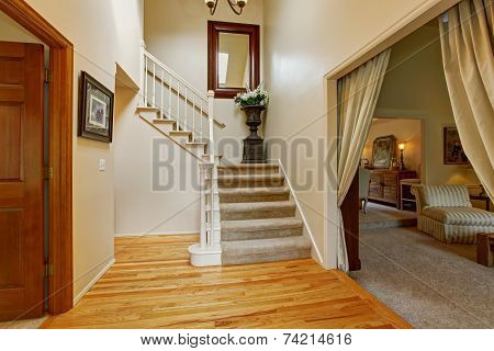 Luxury House Interior. Hallway With Staircase