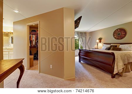 Spacious Bedroom Interior With Walk In Closet