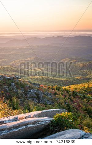 Sunrise over the Blue Ridge Mountains at the Rough Ridge Overlook right off the Blue Ridge Parkway poster
