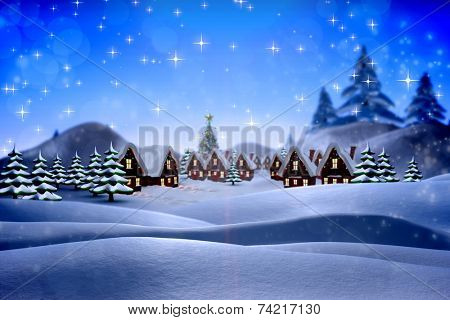 Cute christmas village against snowy landscape with fir trees poster
