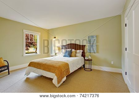 Bedroom In Light Mint Color With White Bed