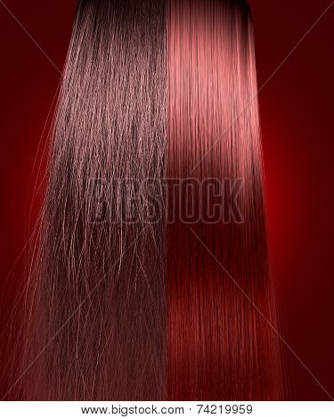 Red Hair Frizzy And Straight Comparison