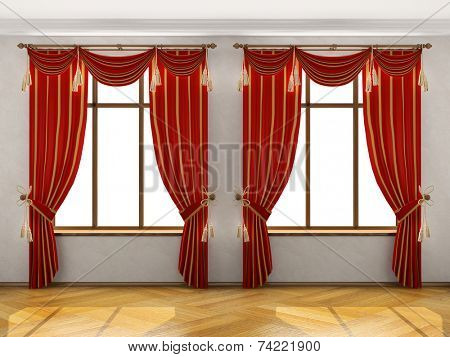 Interior with two big windows and red elegant portiere. You can add different background behind the windows