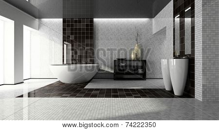 Interior of the modern bathroom 3D
