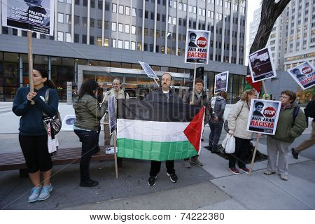 Palestinian flag in front of Homeland Security