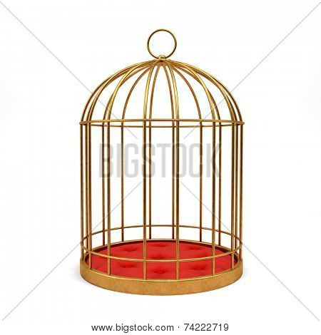 Golden cage isolated on white background 3D rendering