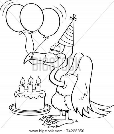 Cartoon Buzzard with a Birthday Cake