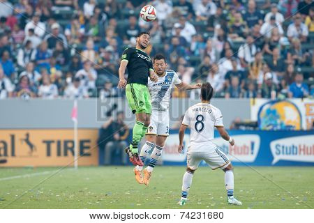 CARSON, CA - OCT 19: Lamar Neagle (L) & Dan Gargan in action during the Los Angeles Galaxy MLS game against the Seattle Sounders on October 19th 2014 at the StubHub Center.