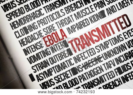 Digitally generated ebola word cluster on white background poster