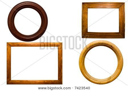 collection of wooden scopes on a white background poster