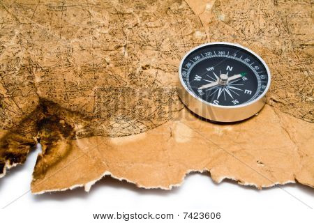 Old Map And Compass On A White Background