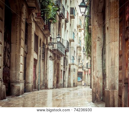 Old streets of Barrio Gotico in Barcelona, Catalonia.