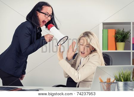 Mad boss yelling at employee on megaphone poster