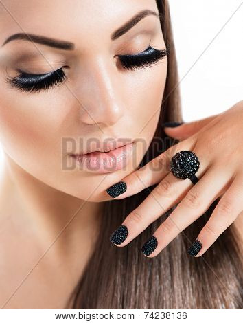 Beauty Fashion Model Girl with Long Healthy Hair, Long Lushes. Fashion Trendy Caviar Black Manicure. Nail Art  poster