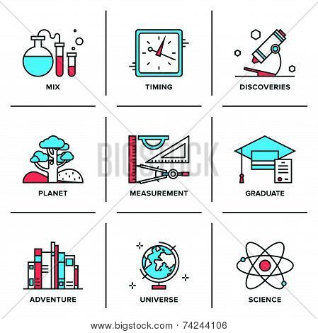 Flat line icons set of discovery new things school measurement items science and chemistry planet adventures planet geography. Modern trend design style vector concept. Isolated on white background. poster