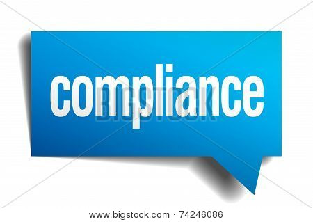 Compliance Blue 3D Realistic Paper Speech Bubble