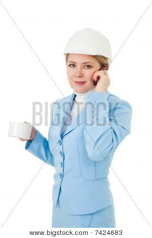 Architect woman make a call while brak isolated on white poster