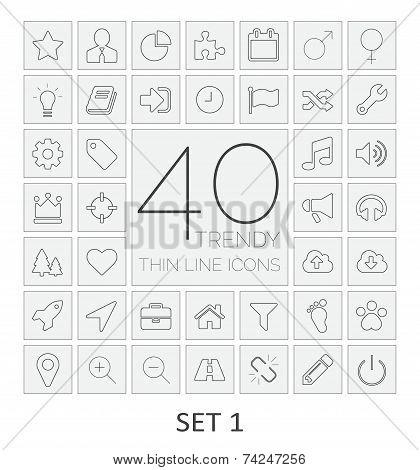 40 Thin Line Icons. Set 1.