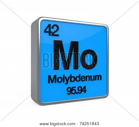 Molybdenum Element Periodic Table isolated on white background. 3D render poster