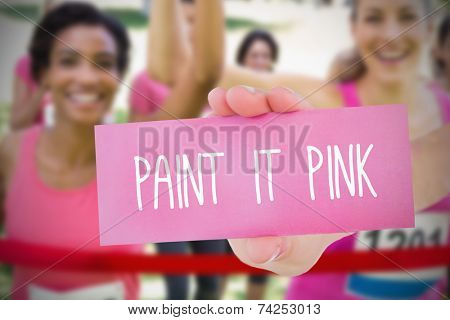 Composite image for breast cancer awareness with text on card