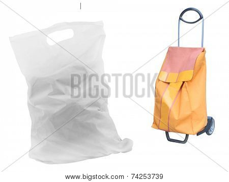 weel's shopping bag under the white background